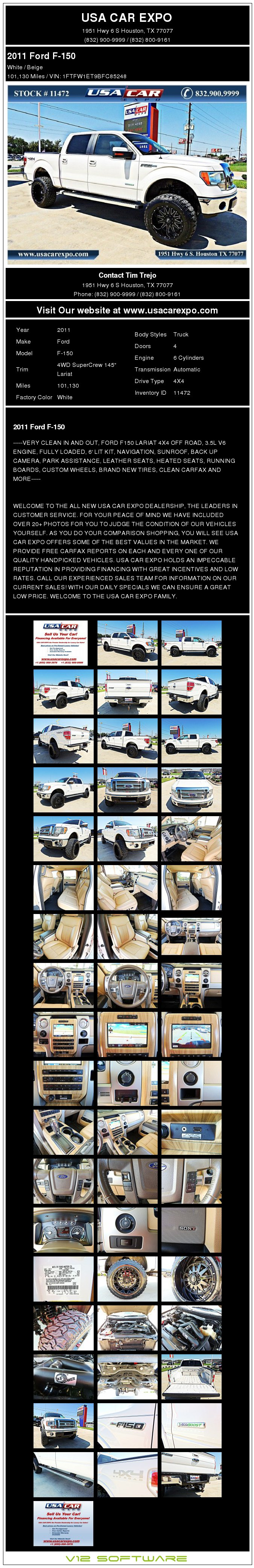 $25,900, 2011 Ford F-150 Lariat 4x4 Lifted