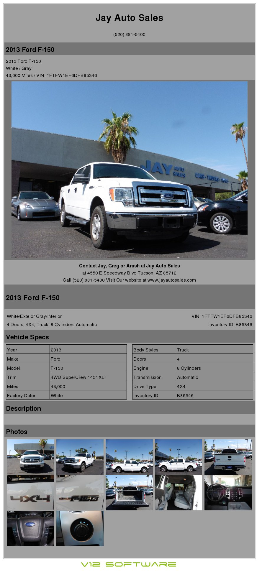 $28,995, 2013 Ford F-150 4x4 Supercrew Xlt  /clean Carfax/ Only 43k Miles!