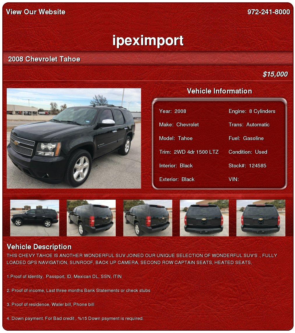$15,000, 2008 Chevrolet Tahoe 2wd 4dr 1500 Ltz,dvd, Gps,back Up Camera