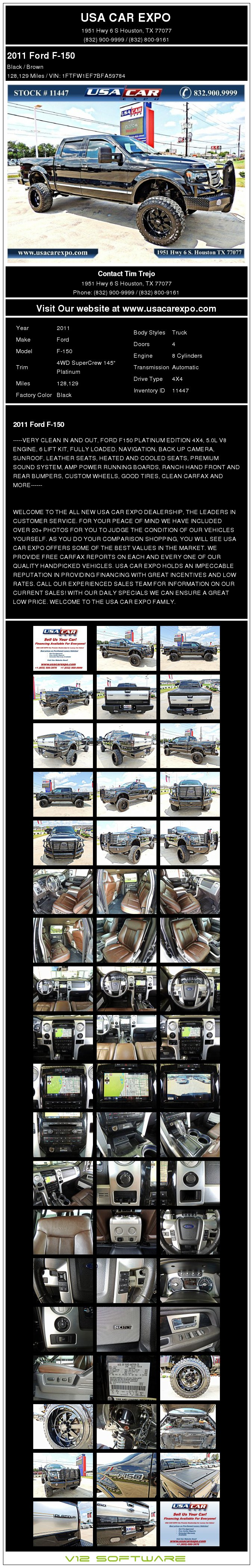 $25,900, 2011 Ford F-150 Platinum 4x4 Lifted