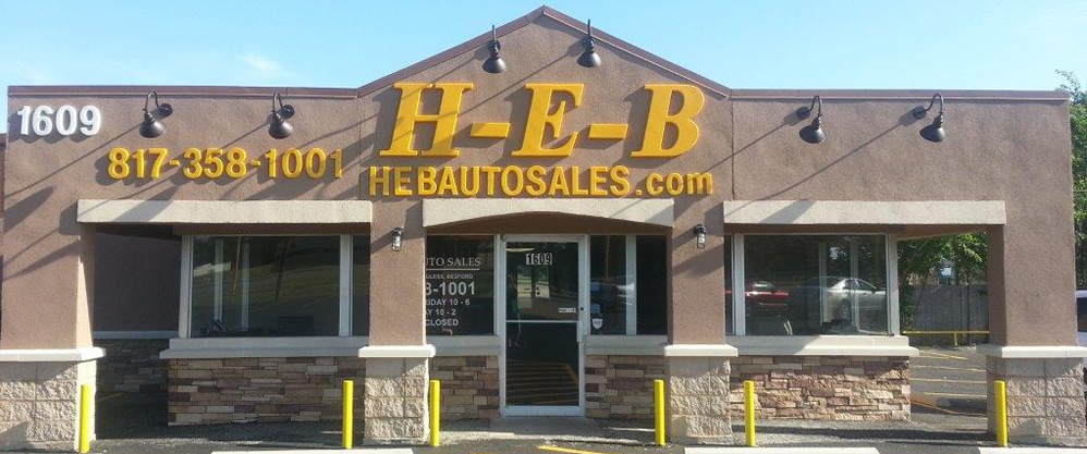 HEB Auto Sales Inc. Serving Hurst, Euless, Bedford, & local. (817) 358-1001