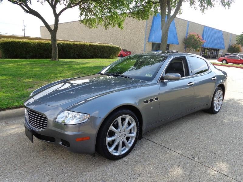 2006 Maserati Quattroporte WWWDALLASPREOWNEDCOM Gray Blue 30125 miles Stock 026008 VIN ZAMC