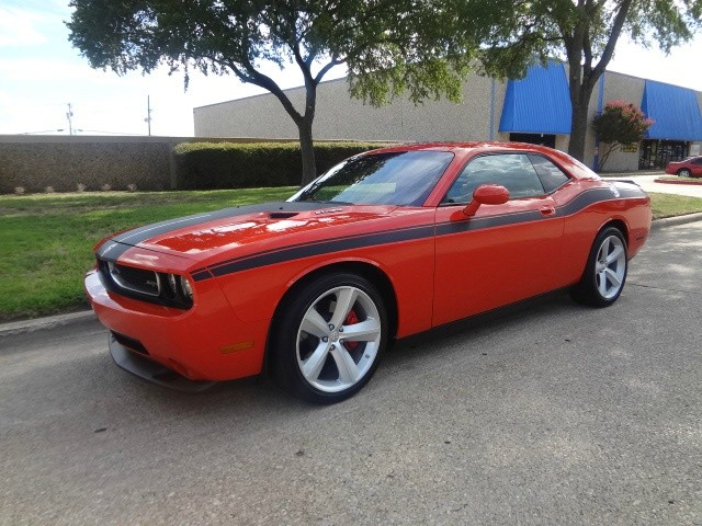 2008 Dodge Challenger 2dr Cpe SRT8 WWWDALLASPREOWNEDCOM Orange Black 67510 miles Stock 30251