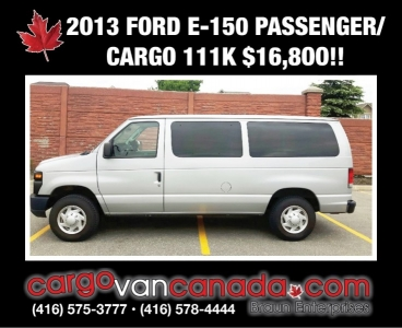 2013 FORD E-150 PASSENGER CARGO 111KMS $16,8OO!!