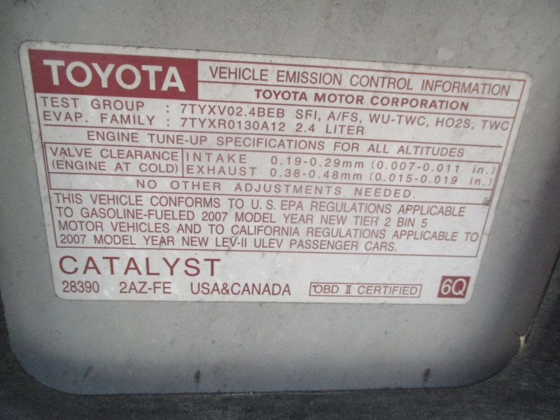 TOYOTA CAMRY SOLARA 2007 price $5,500