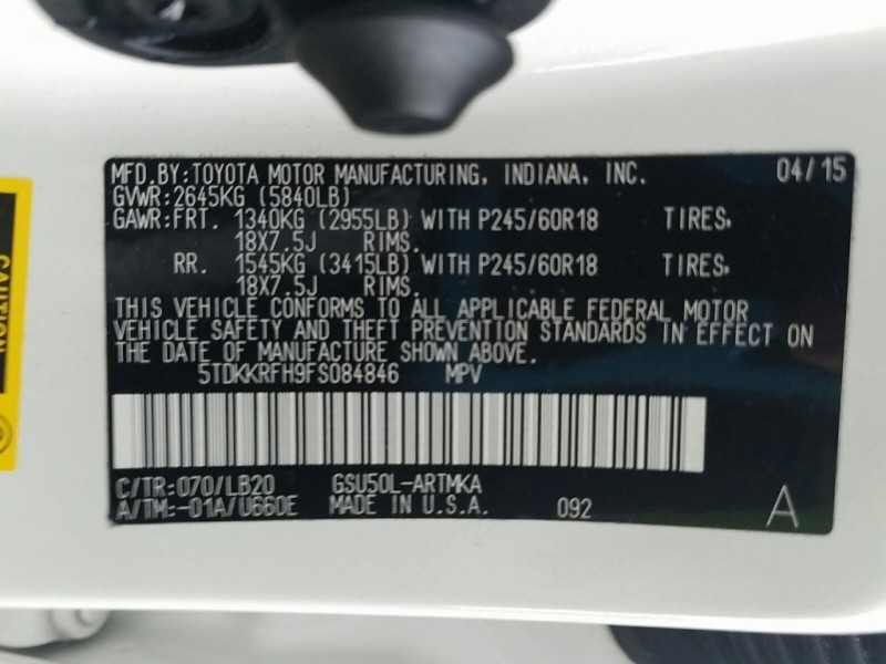 Toyota Highlander 2015 price $25,000