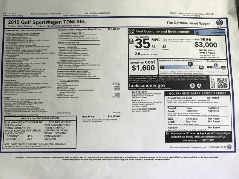 VOLKSWAGEN GOLF SPORTWAGEN 2015 price $15,155
