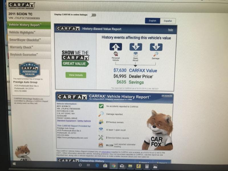 SCION TC 2011 price $5,995