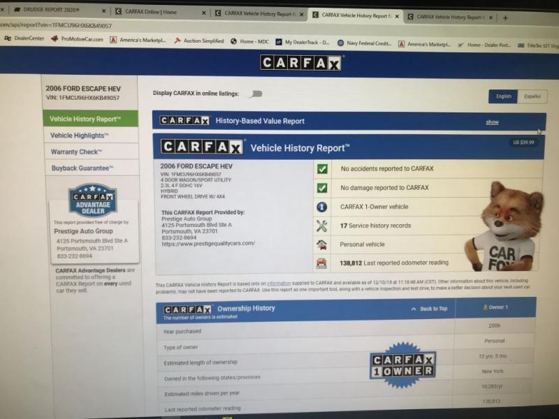 FORD ESCAPE 2006 price $5,250