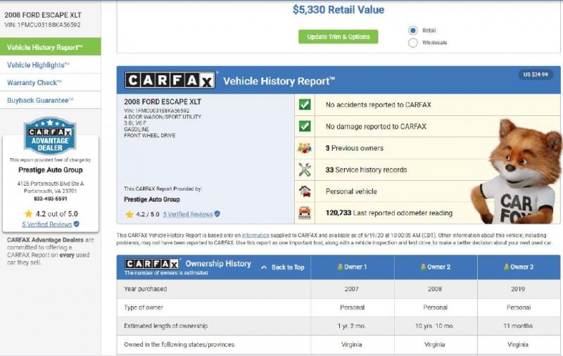 FORD ESCAPE 2008 price $5,495