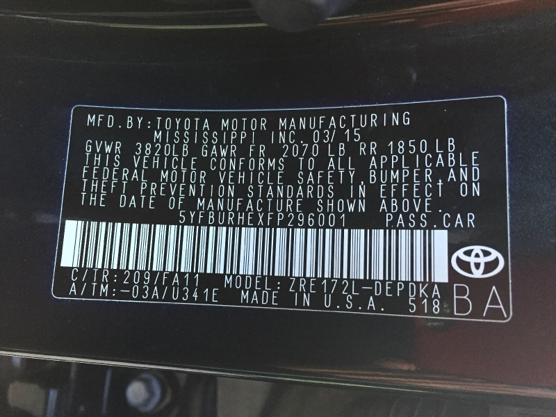 Toyota Corolla 2015 price $7,600