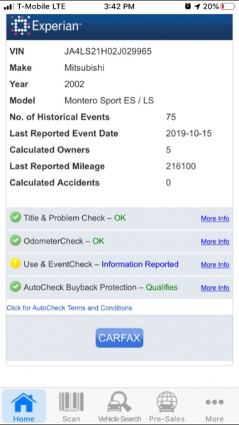 Mitsubishi Montero Sport 2002 price $1,990