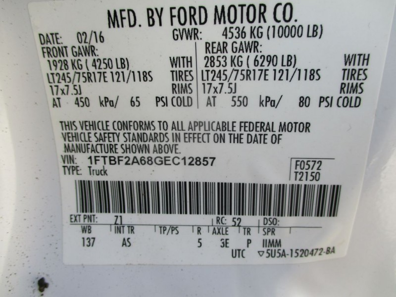 FORD F250 REG CAB 2016 price $17,950