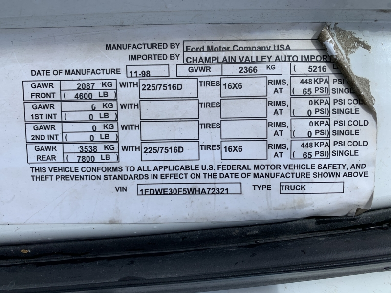 Ford Econoline Cutaway 1998 price $7,895