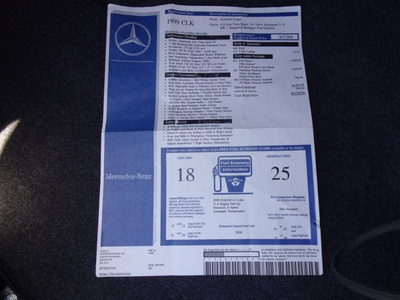 Mercedes-Benz CLK-Class 1999 price $7,500