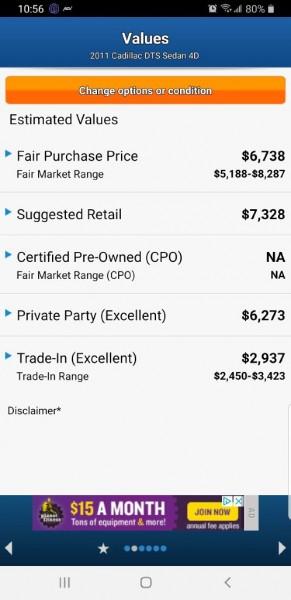 CADILLAC DTS 2011 price $5,995