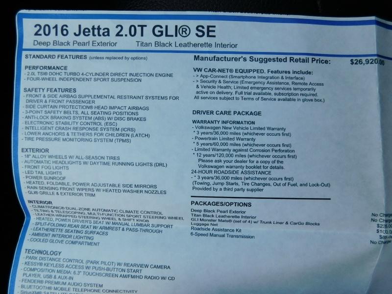 Volkswagen Jetta Sedan 2016 price $16,490