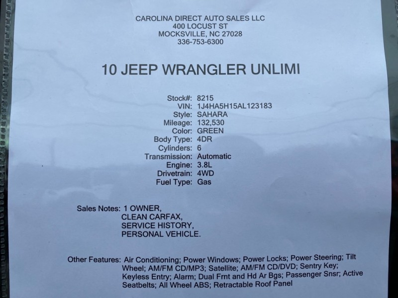JEEP WRANGLER UNLIMI 2010 price $15,999