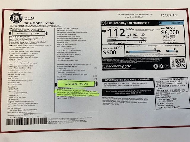 Fiat 500E 2016 price $8,990