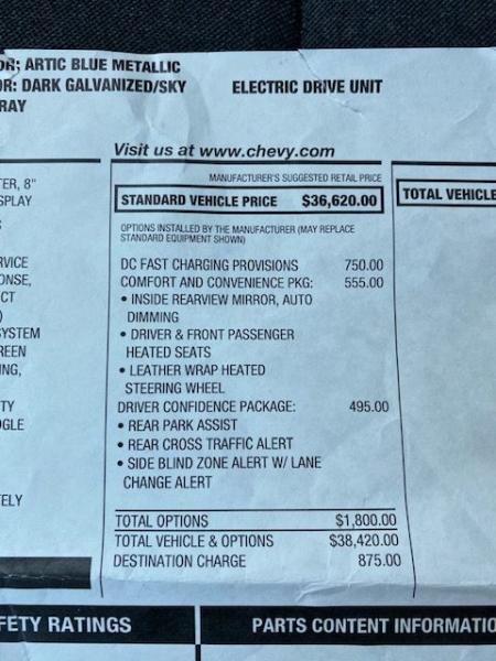 Chevrolet BOLT LT 2017 price $19,990