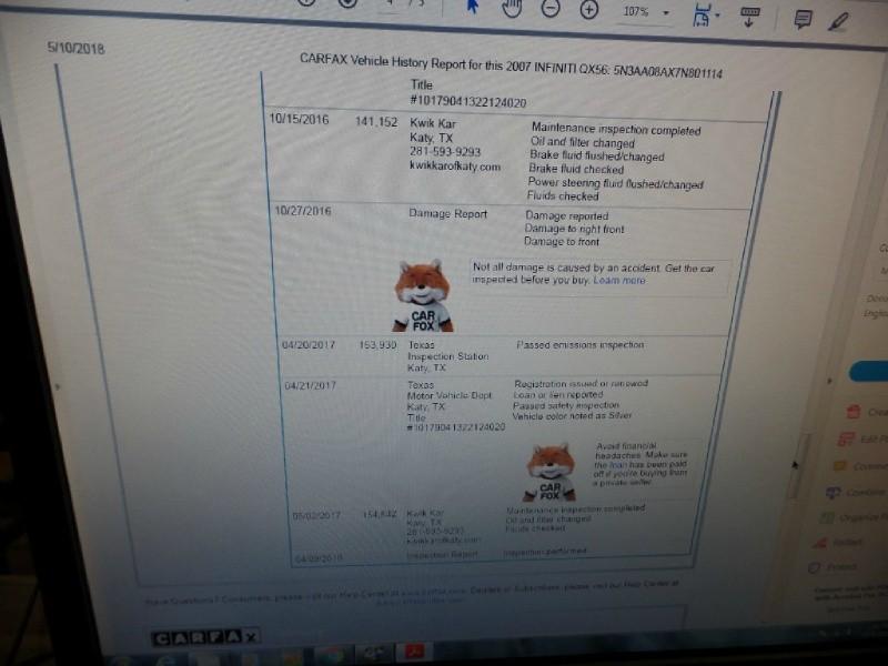 Infiniti QX56 2007 price $8,998