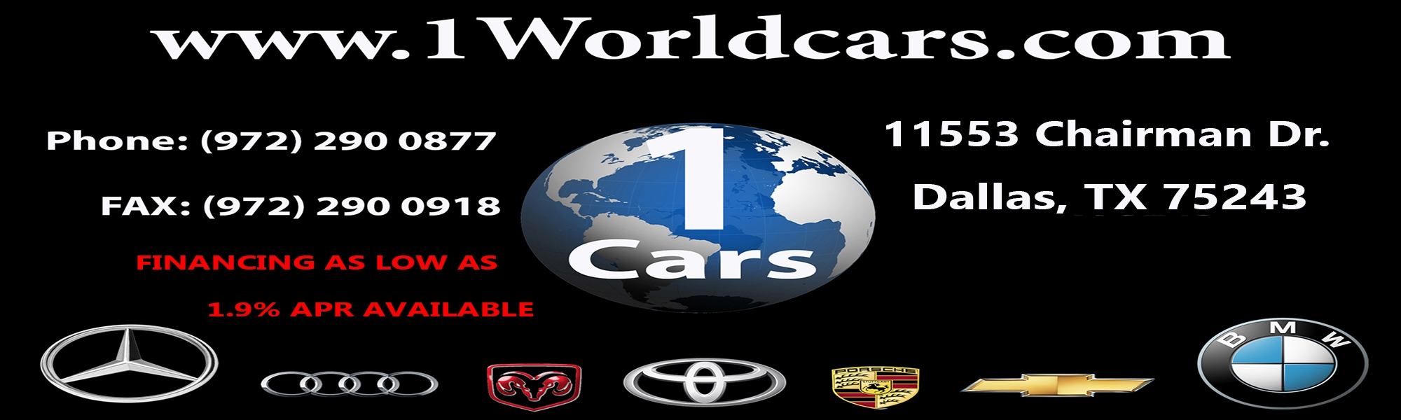 ONE WORLD CARS. (972) 290-0877