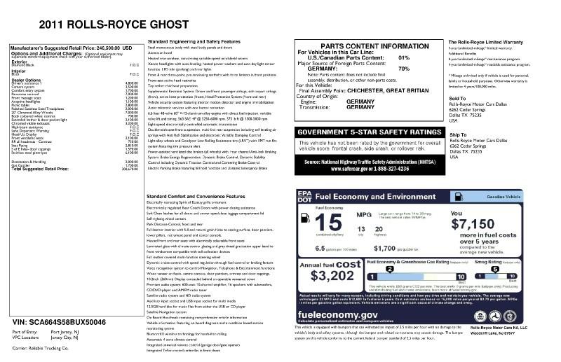Rolls-Royce Ghost 2011 price $135,999