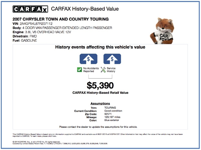Chrysler Town & Country LWB 2007 price $4,495
