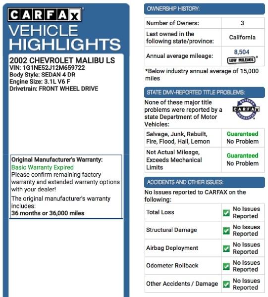 Chevrolet Malibu 2002 price $2,995