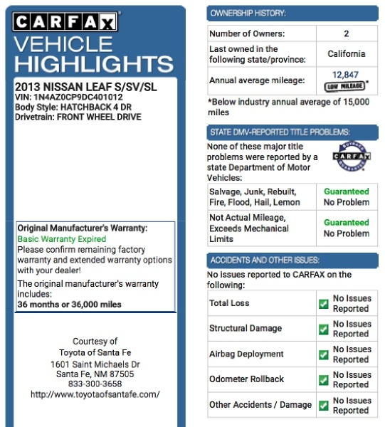 Nissan LEAF 2013 price $4,995