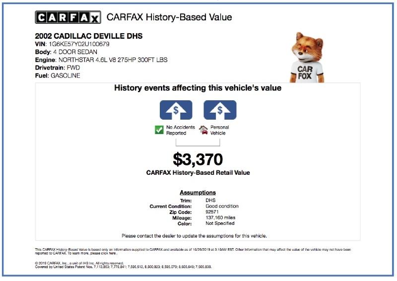 Cadillac DeVille 2002 price $2,995