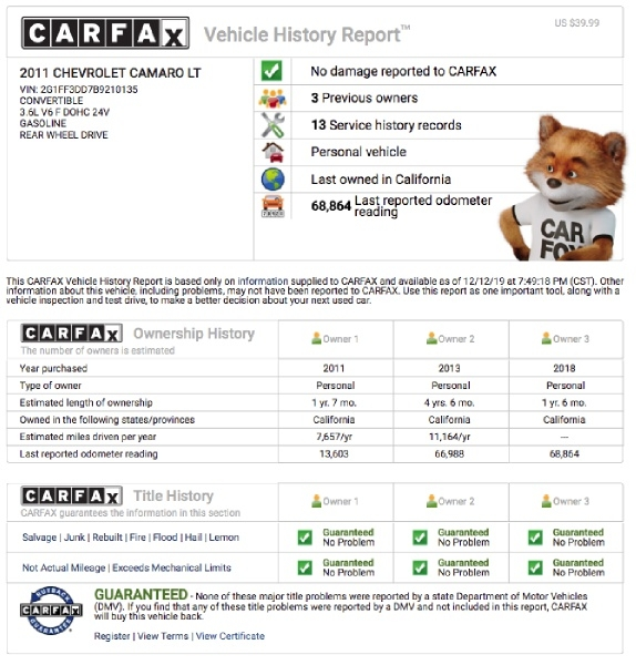 Chevrolet Camaro 2011 price $10,000