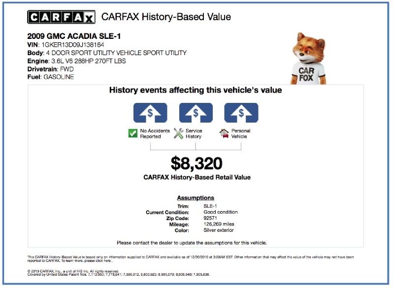 GMC Acadia 2009 price $6,000