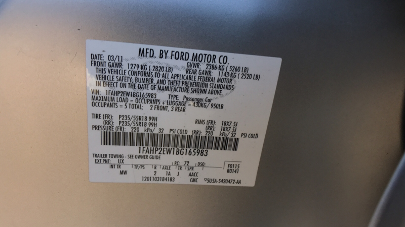 Ford Taurus 2011 price $8,150
