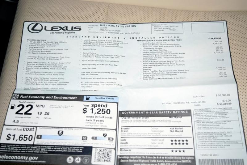 Lexus RX 2017 price $39,990