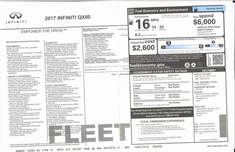 INFINITI QX80 2017 price $35,500