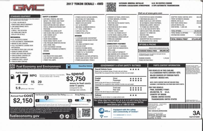 GMC Yukon 2017 price $45,500