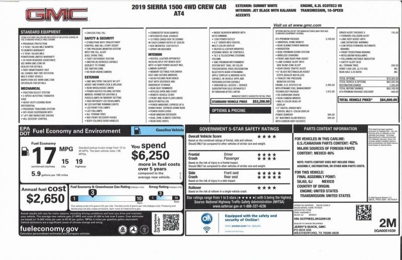 GMC Sierra 1500 2019 price $55,000