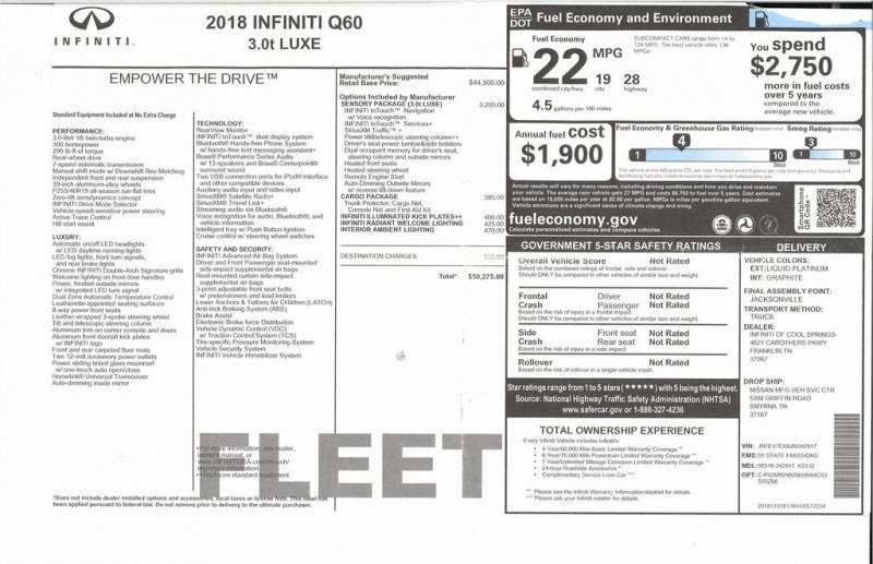 INFINITI Q60 2018 price $32,500
