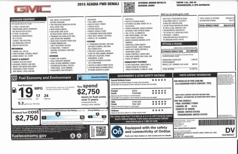 GMC Acadia 2015 price $19,990