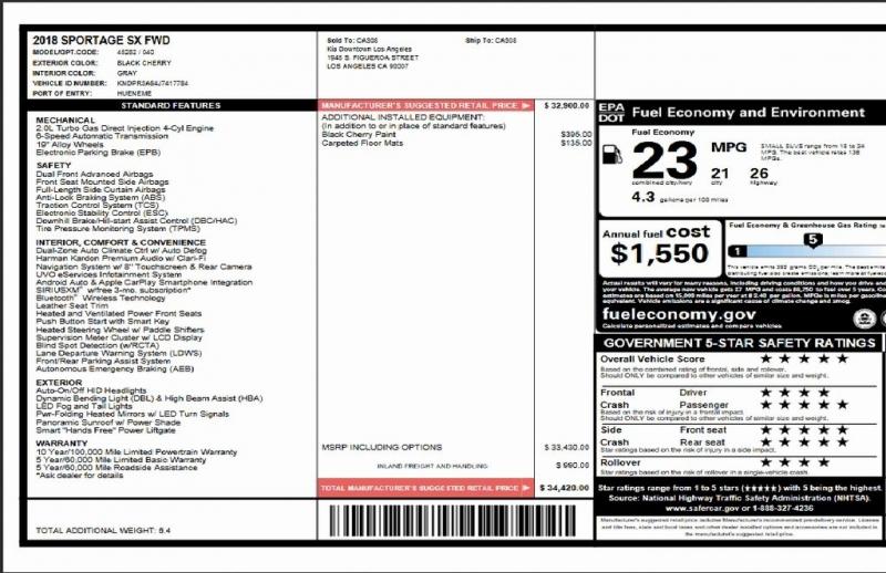 Kia Sportage 2018 price $21,495