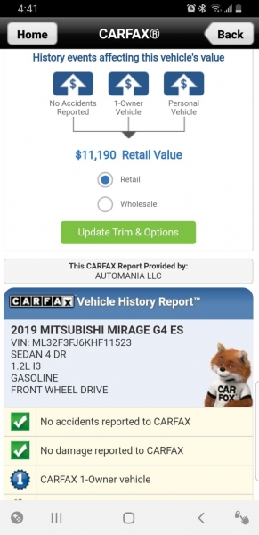 Mitsubishi Mirage G4 2019 price $9,499 Cash