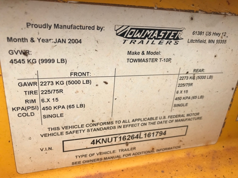 TOWMASTER 6.5X16 EQUIP 2004 price $3,499