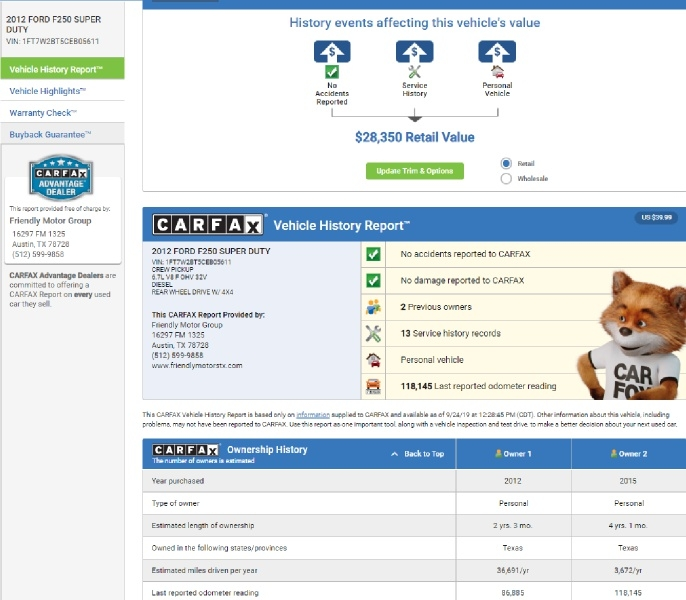 Ford Super Duty F-250 SRW 2012 price $24,950 Cash