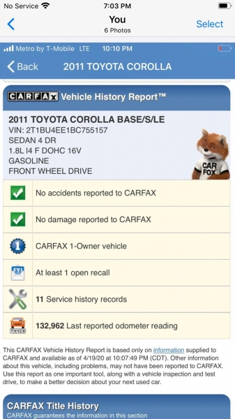 Toyota Corolla 2011 price $5,999