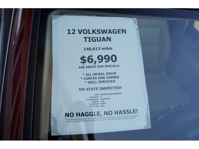 Volkswagen Tiguan 2012 price $6,990