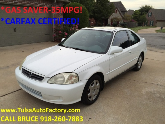 2000 honda civic ex coupe white auto price reduced carfax certified gas saver 35mpg sharp. Black Bedroom Furniture Sets. Home Design Ideas