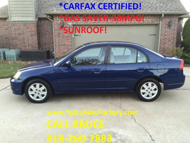 2003 honda civic ex sedan blue carfax certified super clean gas saver 38mpg auto factory. Black Bedroom Furniture Sets. Home Design Ideas
