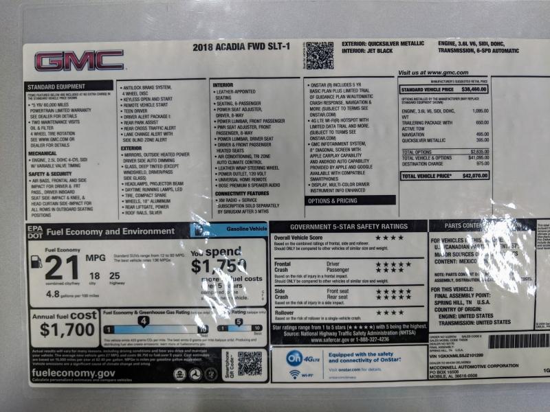 GMC Acadia 2018 price $25,995