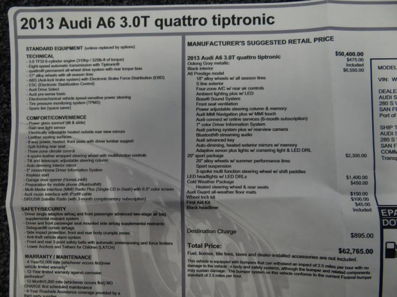 Audi A6 2013 price $37,900
